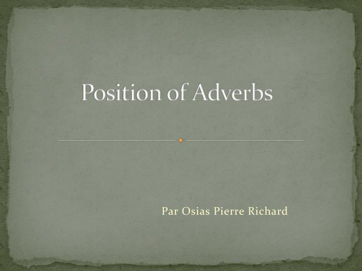 position of adverbs n.