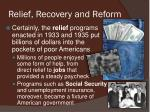 relief recovery and reform