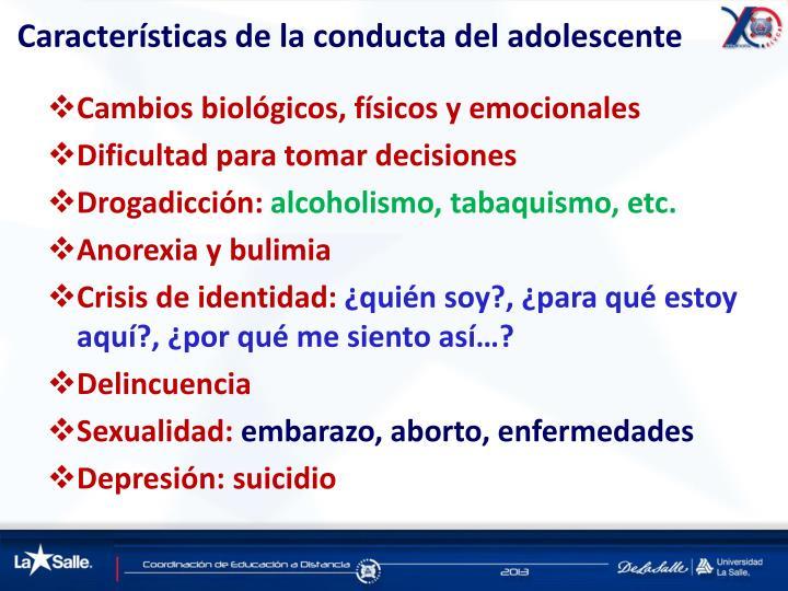 Características de la conducta del adolescente