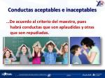 conductas aceptables e inaceptables