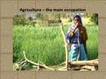agriculture the main occupation