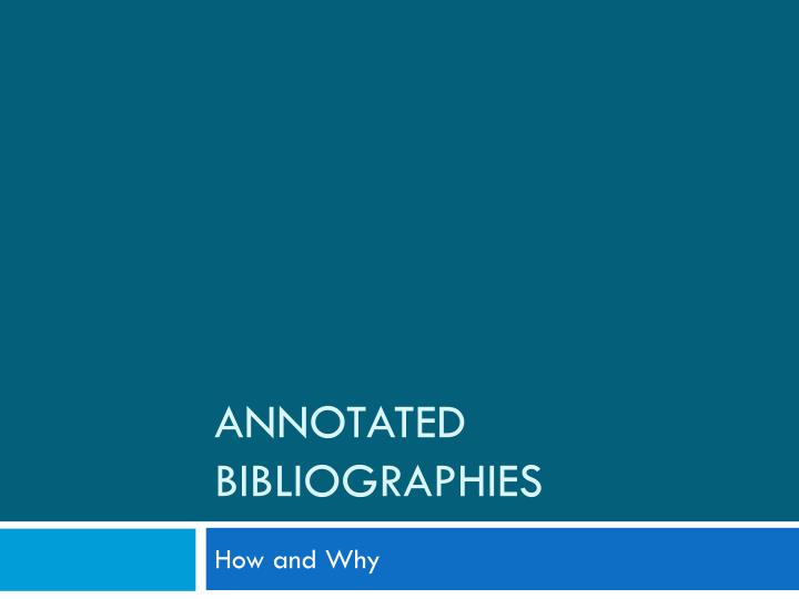 annotated bibliographies n.