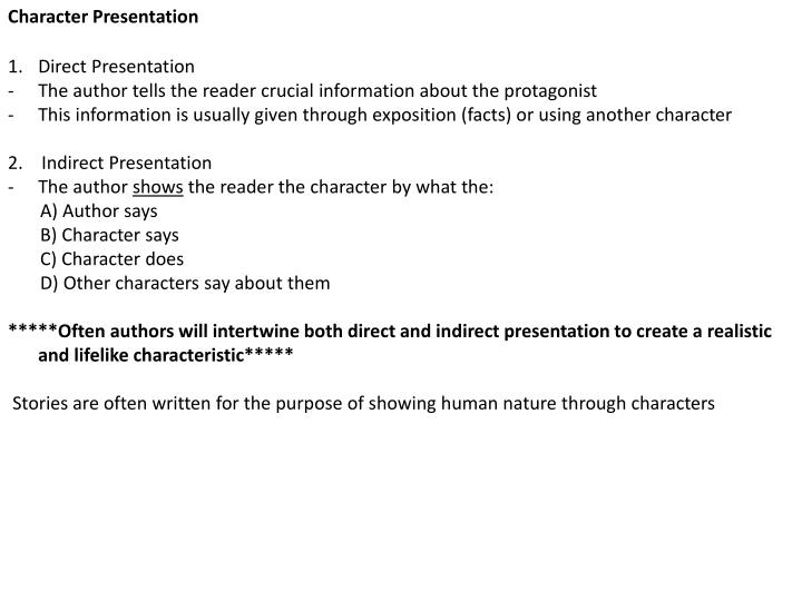 direct presentation of character