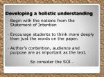 developing a holistic understanding