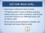 let s talk about unity