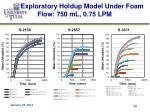 exploratory holdup model under foam flow 750 ml 0 75 lpm
