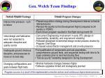 gen welch team findings