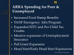 arra spending for poor unemployed