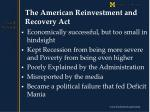 the american reinvestment and recovery act