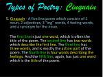 types of poetry cinquain