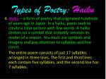 types of poetry haiku
