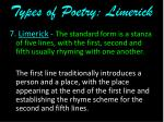 types of poetry limerick