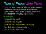 types of poetry lyric poetry