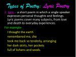 types of poetry lyric poetry