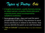 types of poetry ode