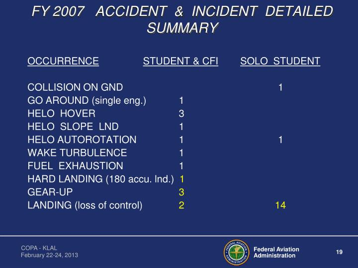 FY 2007   ACCIDENT  &  INCIDENT  DETAILED  SUMMARY