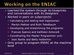 working on the eniac