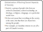 globalization affecting social aspects of society
