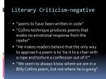 literary criticism negative