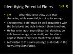 identifying potential elders 1 5 96