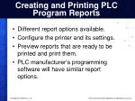 creating and printing plc program reports