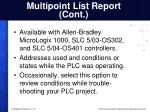 multipoint list report cont