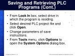 saving and retrieving plc programs cont