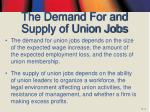 the demand for and supply of union jobs