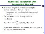 numerical integration with trapezoidal method