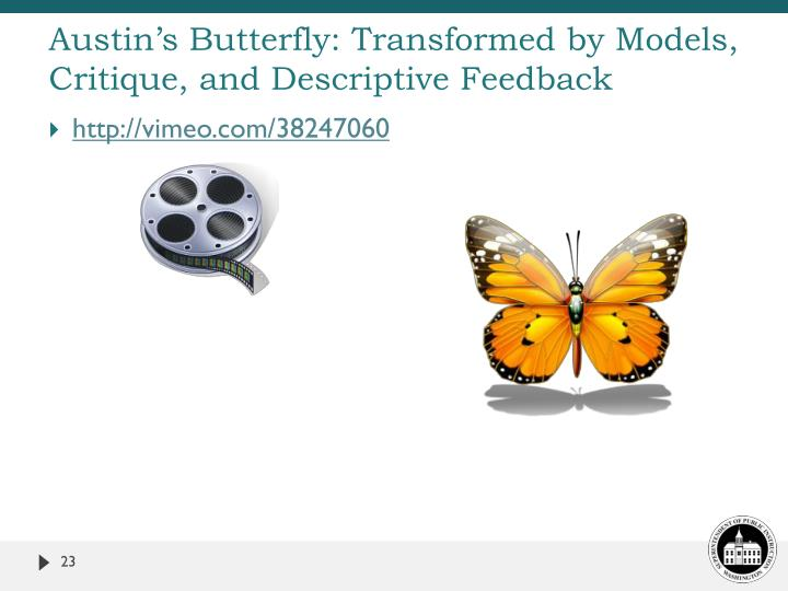 Austin's Butterfly: Transformed by Models, Critique, and Descriptive Feedback