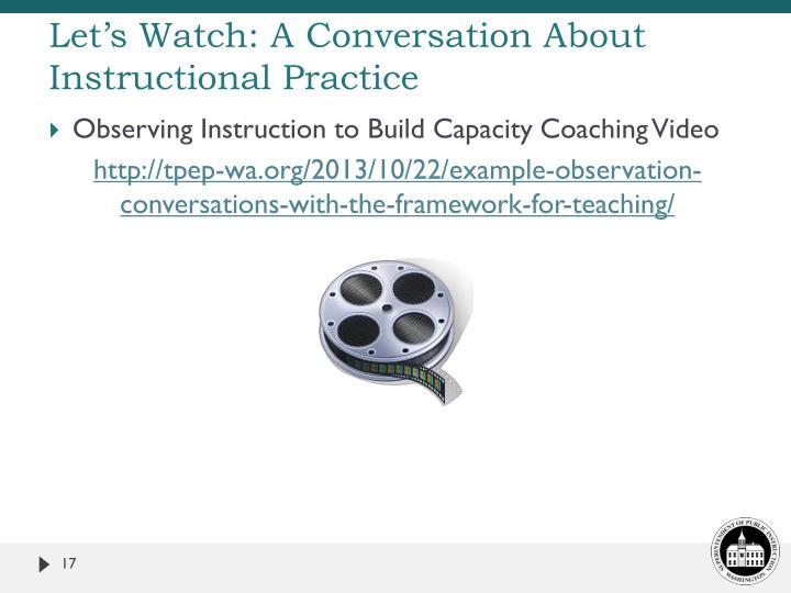 Let's Watch: A Conversation About Instructional Practice