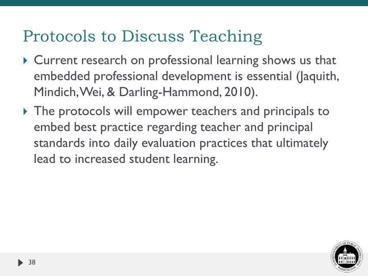 Protocols to Discuss Teaching