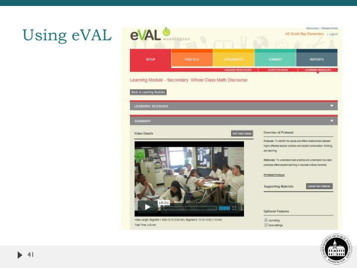 Using eVAL
