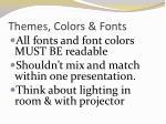 themes colors fonts
