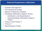 historical perspectives on motivation