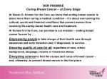 our promise curing breast cancer at every stage