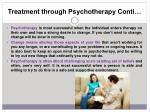 treatment through psychotherapy conti