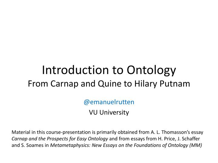 introduction to ontology from carnap and quine to hilary putnam n.