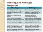 monolingual vs multilingual perspective