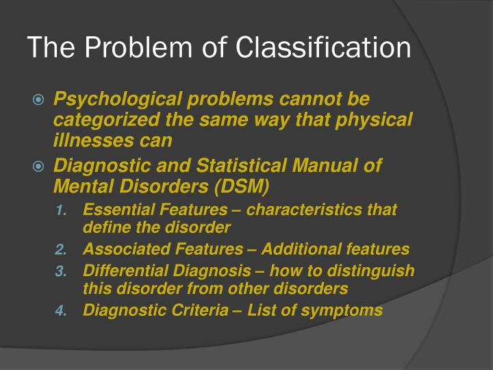 The Problem of Classification