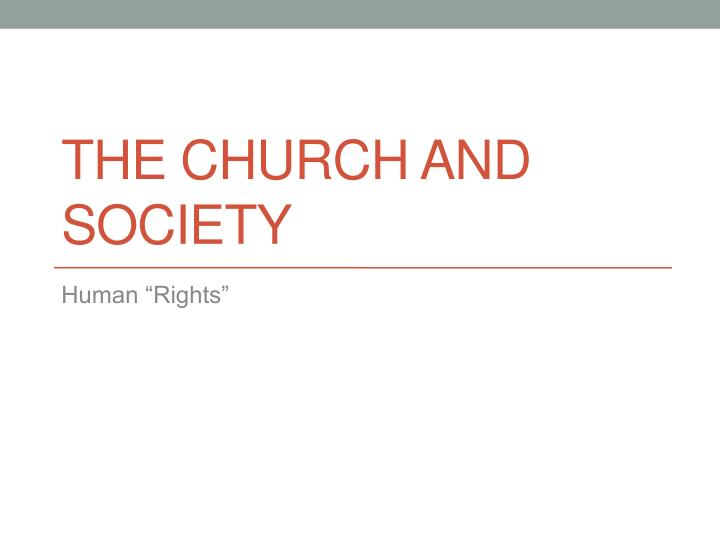 the church and society n.