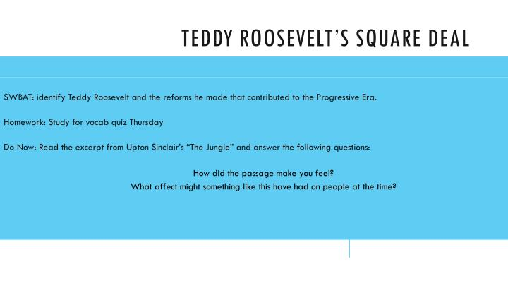 teddy roosevelt s square deal n.
