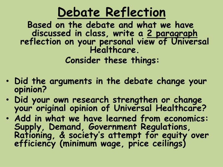 debate reflection n.