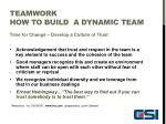 teamwork how to build a dynamic team8