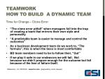 teamwork how to build a dynamic team9