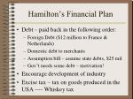 hamilton s financial plan