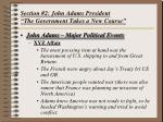 section 2 john adams president the government takes a new course
