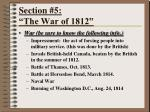 section 5 the war of 1812
