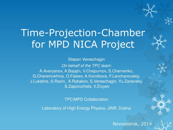 time projection chamber for mpd nica project n.
