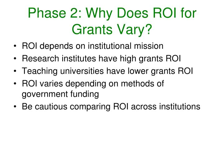 Phase 2: Why Does ROI for Grants Vary?